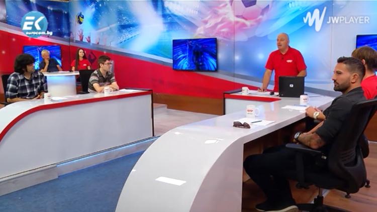 Eмблемата на ЦСКА в спортното предаване Дискусионен клуб СЕДМИЦИТЕ по ТВ Евроком